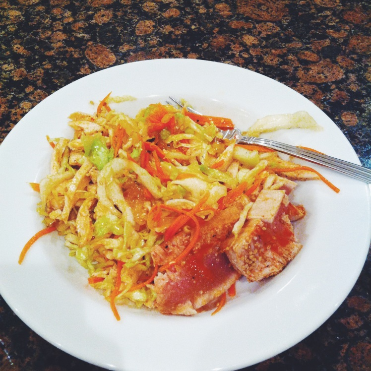 Salmon and cabbage and carrot sesame salad for a quick dinner before babysitting my neighbors :) super Asian and fresh!