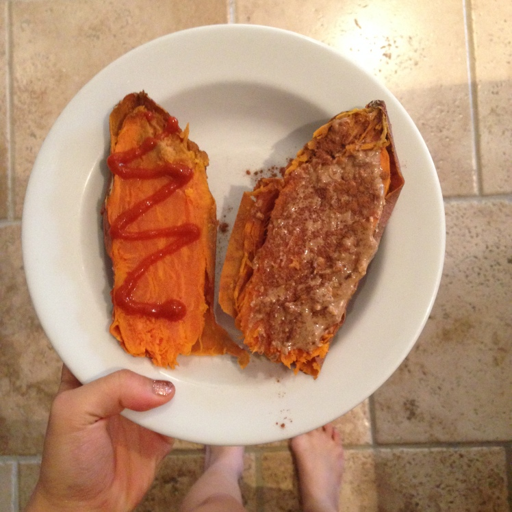 MONDAY: was too aesthetically unappealing to legitimately post but tasted AMAZING - a well-cooked medium sweet potato with one side with Sriracha, and one with cinnamon and Justin's almond butter! Ate this while blending the acai bowl......soooooooo good!