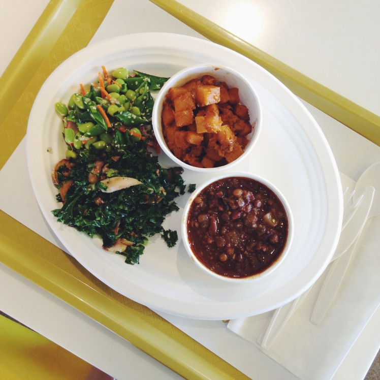 THURSDAY: Lemonade plate with edamame snap peas, carrots and sesame seeds, kale, mushroom and kumquat salad, the best curried butternut squash of my life and lentil eggplant stew!