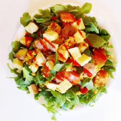 MONDAY: curried tofu scramble with arugula, Japanese yams, tomatoes and Sriracha!