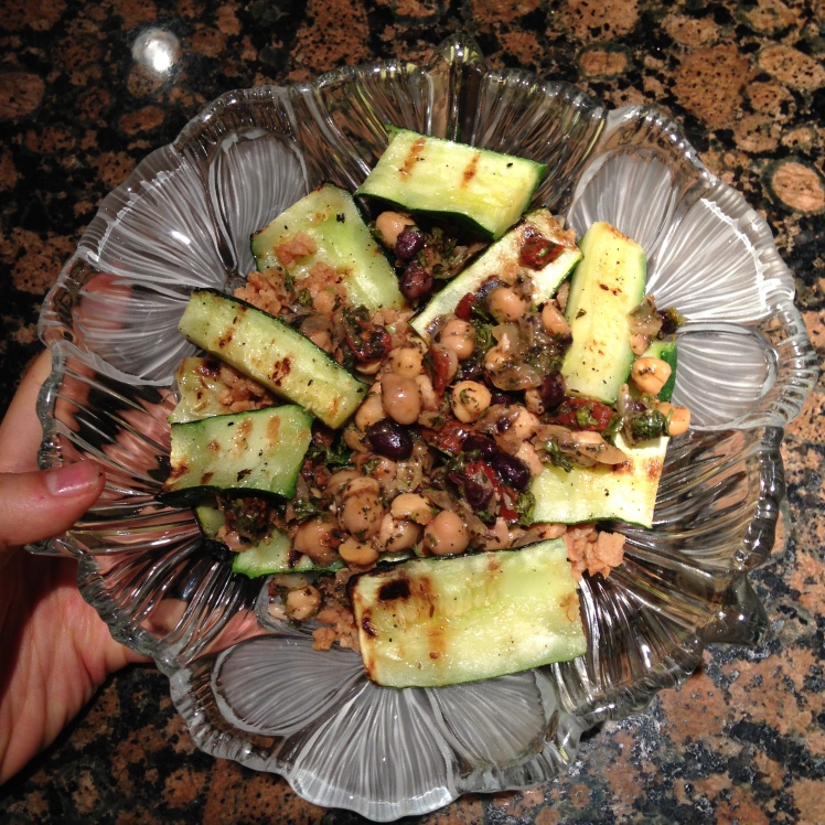 GRILLED ZUCCHINI AND MIXED BEAN AND TVP SALAD (with mango ginger chutney sauce)