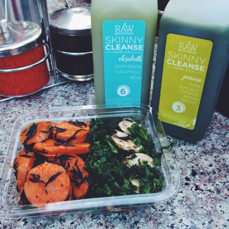 ELIZABETH AND JESSICA JUICES WITH SESAME CARROTS AND KALE MUSHROOM SALAD