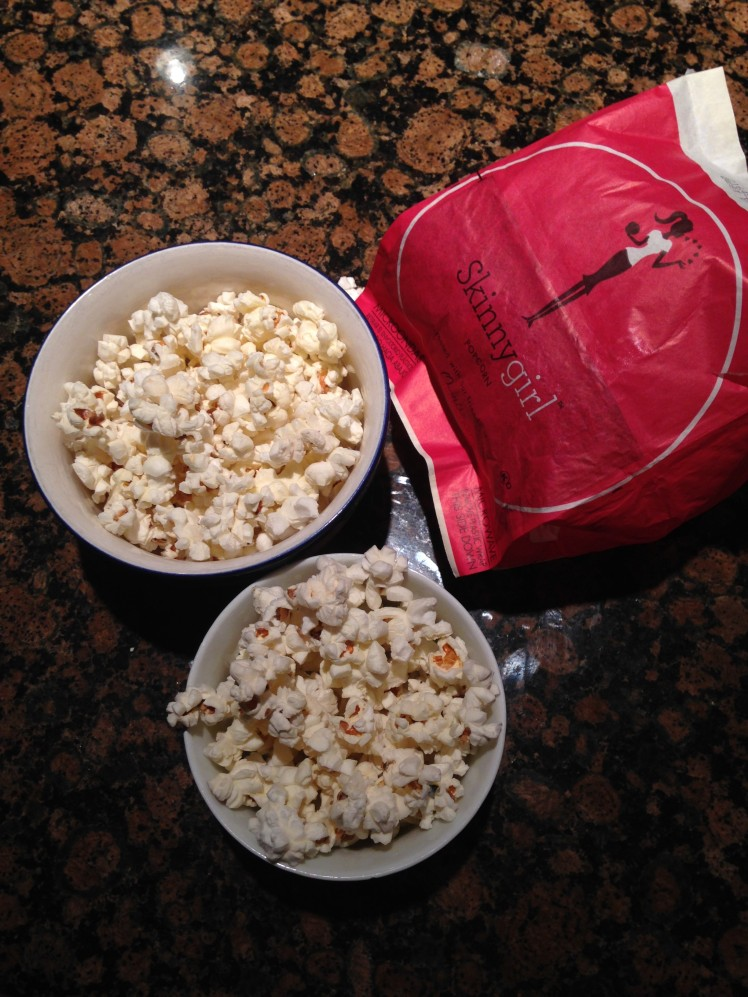 Not a very exciting photo, but I had some of the sea salt SkinnyGirl popcorn after dinner! It was good, but I thought it was a tad too salty. I'd stick to kettle corn.